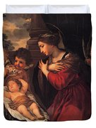 Madonna And Child With Child And Angles Duvet Cover