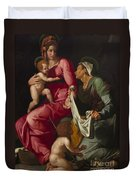 Madonna And Child With Saint Elizabeth And Saint John The Baptist Duvet Cover