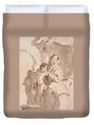Madonna And Child With Saint Duvet Cover