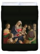 Madonna And Child With Saint John The Baptist Two Saints And Donors Duvet Cover