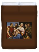 Madonna And Child With Saints And Donors Duvet Cover
