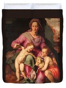 Madonna And Child With The Infant Saint John The Baptist Duvet Cover
