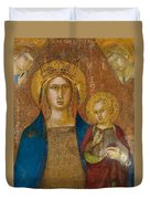 Madonna And Child With Two Angels Duvet Cover