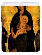 Madonna In Gloria Between Saint Francis And Santa Chiara Gentile Duvet Cover