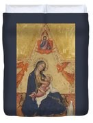 Madonna Of Humility The Blessing Christ Two Angels And A Donor Duvet Cover