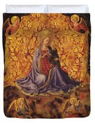 Madonna Of Humility With Christ Child And Angels Duvet Cover
