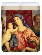 Madonna Of The Cherries With Joseph Duvet Cover