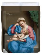 Madonna With The Infant Christ Child Holding A Goldfinch On A String  Duvet Cover