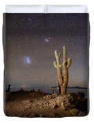 Magellanic Clouds And Forked Cactus Incahuasi Island Bolivia Duvet Cover