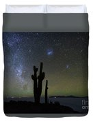 Magellanic Clouds Milky Way And Cactus Silhouette Incahuasi Island Bolivia Duvet Cover