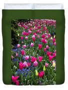 Magenta And White Tulips Duvet Cover