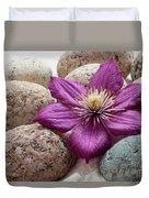 Clematis Flower On Meditation Stones Duvet Cover