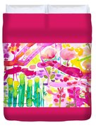 Magenta Garden In The Afternoon Duvet Cover