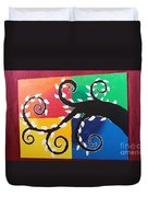 Magic Of Black With The Colourful Lake  Duvet Cover