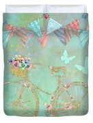 Magical Bicycle Tour Enchanted Happy Art Duvet Cover