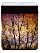 Magical Colorful Sunset Tree Silhouette Duvet Cover