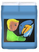 Magical Encounter Between A Boy And Creatures Of The Sea Duvet Cover