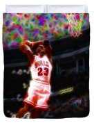 Magical Michael Jordan White Jersey Duvet Cover by Paul Van Scott