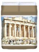 Magnificent Acropolis In Athens Duvet Cover