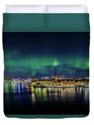 Magnificent Aurora Dancing Over Stockholm Duvet Cover