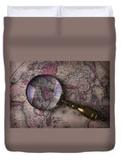 Magnifying  Glass On Old Map Duvet Cover
