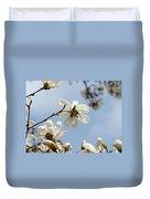 Magnolia Flowers White Magnolia Tree Art 2 Blue Sky Giclee Prints Baslee Troutman Duvet Cover