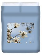 Magnolia Flowers White Magnolia Tree Spring Flowers Artwork Blue Sky Duvet Cover