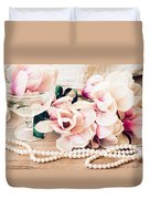 Magnolia Flowers With Pearls Duvet Cover