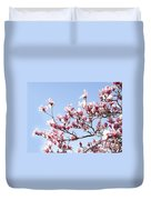 Magnolia Tree Against Blue Sky Duvet Cover