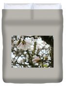 Magnolia Tree Flowers Pink White Magnolia Flowers Spring Artwork Duvet Cover