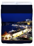 Mahon Harbour At Night Duvet Cover