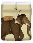 Mahout Riding An Elephant Painting - 18th Century Duvet Cover