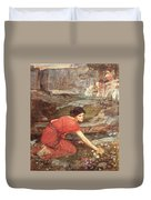 Maidens Picking Flowers By The Stream Duvet Cover
