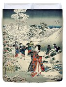 Maids In A Snow Covered Garden Duvet Cover by Hiroshige