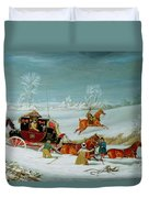 Mail Coach In The Snow Duvet Cover