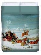 Mail Coach In The Snow Duvet Cover by John Pollard