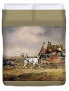 Mail Coaches On The Road - The Louth-london Royal Mail Progressing At Speed Duvet Cover
