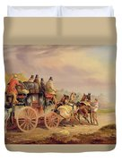 Mail Coaches On The Road - The 'quicksilver'  Duvet Cover