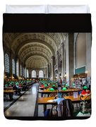 Main Reading Room Of Boston Public Library Duvet Cover