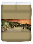 Main Street Mackinac Island Michigan Panorama Textured Duvet Cover