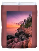 Maine Acadia Bass Harbor Lighthouse Sunset Duvet Cover by Ranjay Mitra