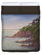 Maine Coast Abode - Art By Bill Tomsa Duvet Cover