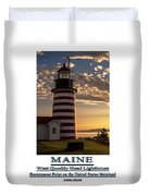Maine Good Morning West Quoddy Head Lighthouse Duvet Cover