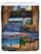 Maine Lighthouses Collage Duvet Cover