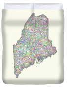 Maine Line Art Map Duvet Cover