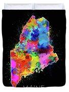 Maine Map Color Splatter 2 Duvet Cover