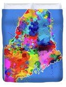 Maine Map Color Splatter 3 Duvet Cover