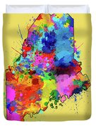 Maine Map Color Splatter 4 Duvet Cover