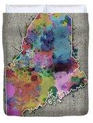 Maine Map Color Splatter 5 Duvet Cover