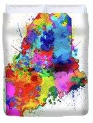 Maine Map Color Splatter Duvet Cover